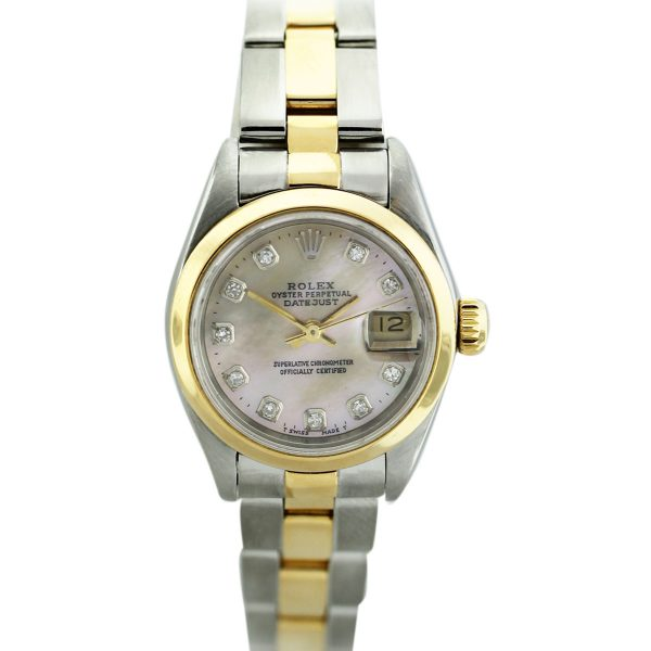 South Florida Rolex Datejust 69173 Two Tone Mother of Pearl Diamond Dial Ladies Watch