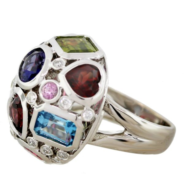 18k White Gold Multicolored Gemstone and Diamond Dome Ring South Florida