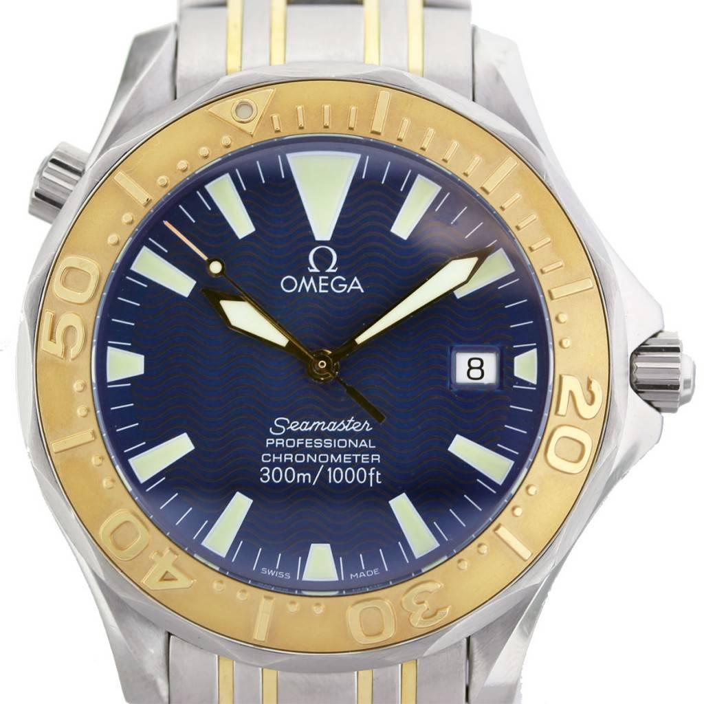 Omega seamaster professional chronometer two tone blue dial watch boca raton for Omega seamaster professional