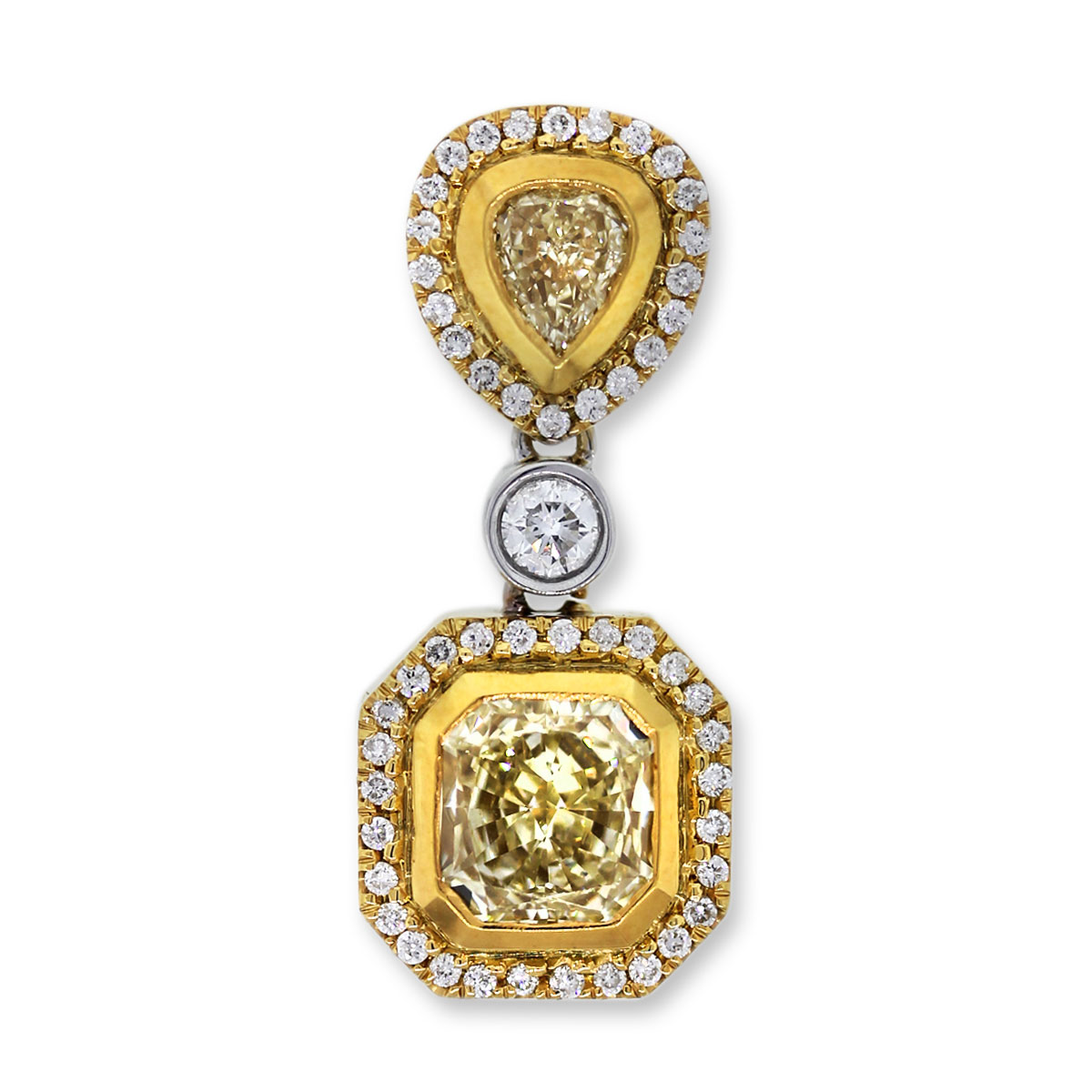 Pear Shape and Radiant Cut Yellow Diamond Pendant