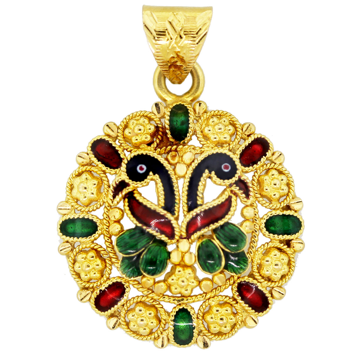 22k Yellow Gold Green, Red, Blue Enamel Peacock Pendant