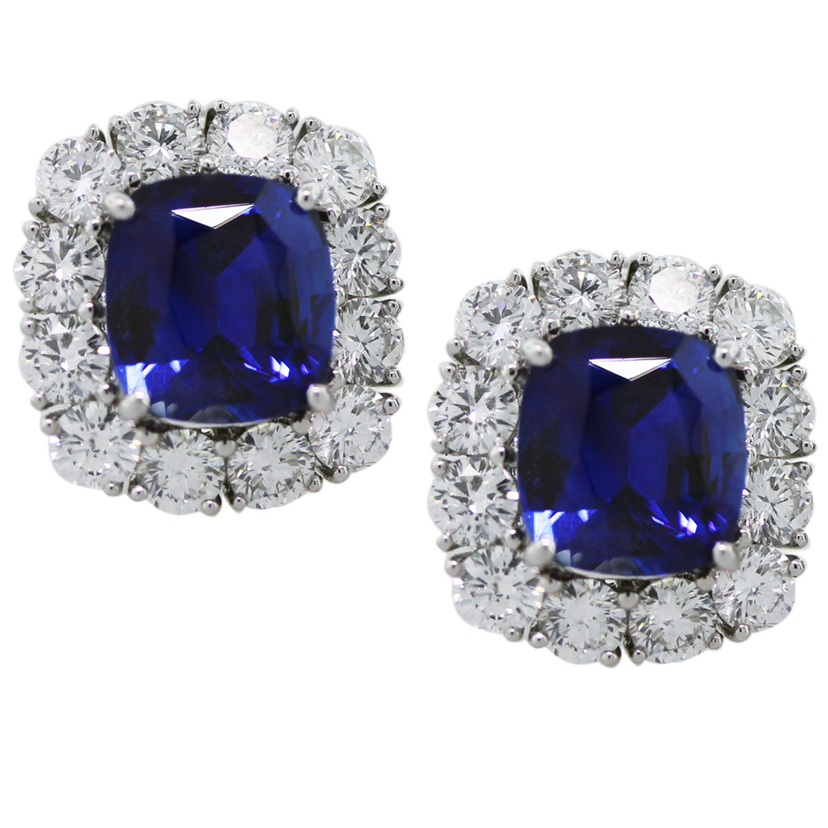 8.40 Carat Blue Sapphire and Diamond Platinum Button Earrings