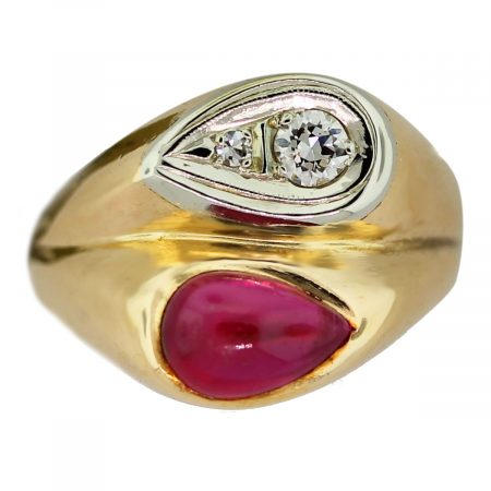 14k Yellow Gold Diamond and Pear Shape Synthetic Cabochon Ring
