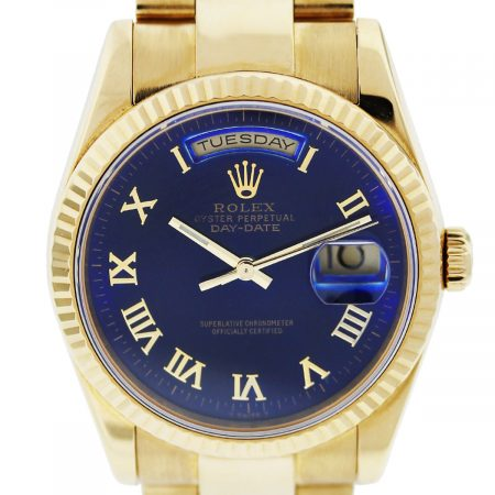 Rolex President 118238 18K Yellow Gold Index Blue Roman Dial Mens Watch