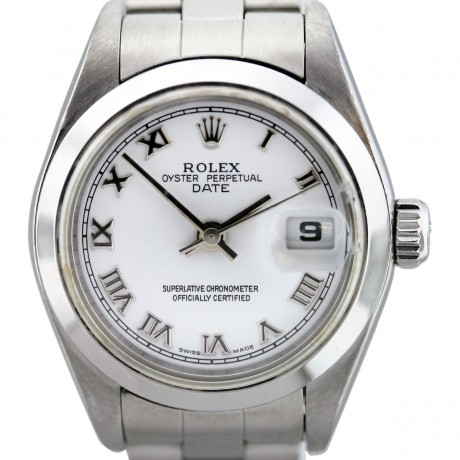 Rolex Date 79160 Stainless Steel White Roman Dial Ladies Watch