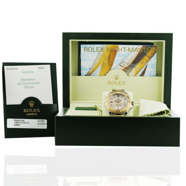 Rolex Yacht Master Mother of Pearl Dial Two Tone Men's Watch Box and Papers