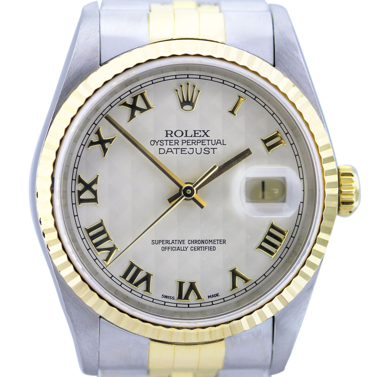 Rolex Datejust Two Tone Ivory Pyramid Roman Dial Men's Watch