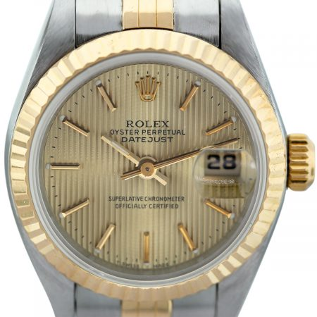Rolex Datejust 6917 Two Tone Champagne Pin-Striped Dial Watch