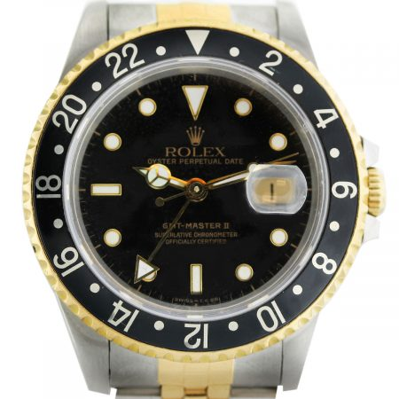 Rolex GMT Master II 2822 Two Tone Black Bezel/Dial Jubilee Watch