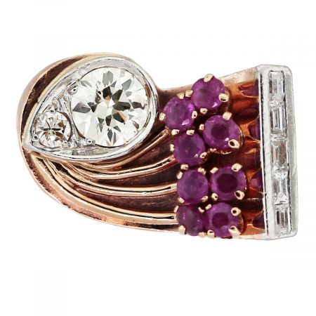14k Rose Gold Round Brilliant Diamond, Baguettes and Ruby Ring