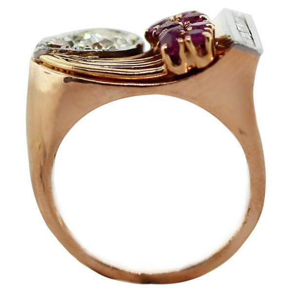 14k Rose Gold Round Brilliant Diamond, Baguettes and Ruby Ring Boca Raton