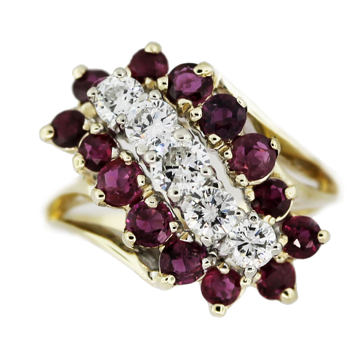 14k Yellow Gold 1.64ctw Diamond and Ruby Waterfall Ring