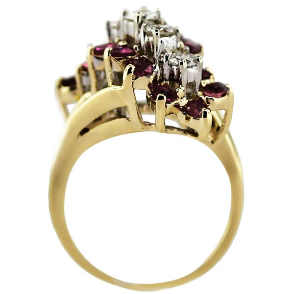 14k Yellow Gold 1.64ctw Diamond and Ruby Waterfall Ring South Florida