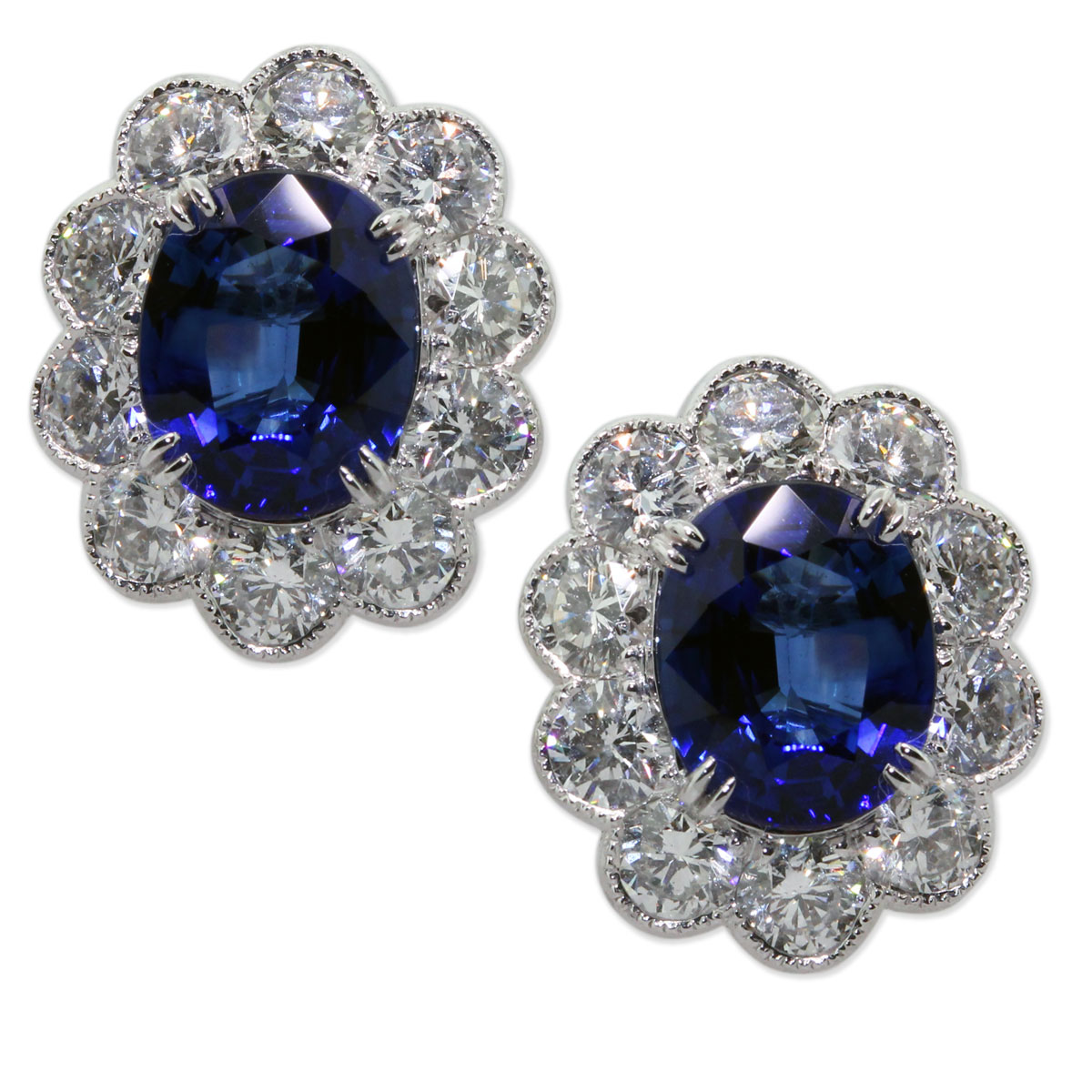 4.24 Carat Blue Sapphire and Diamond Floral Button Earrings