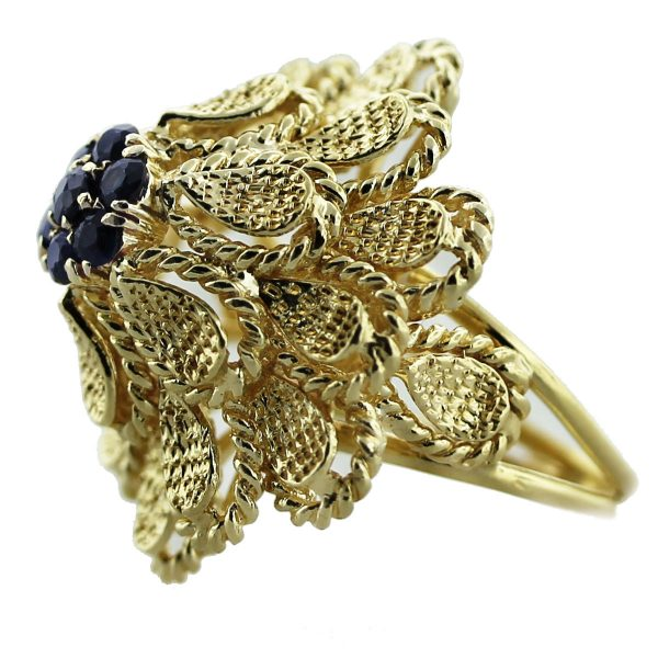Vintage 18k Yellow Gold Sapphire Cluster Flower Ring South Florida