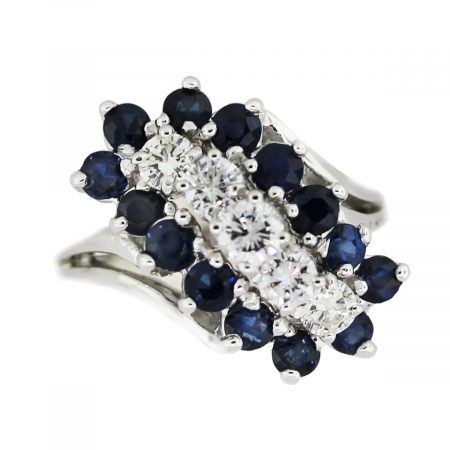 Vintage 18k Yellow Gold Sapphire Cluster Flower Ring
