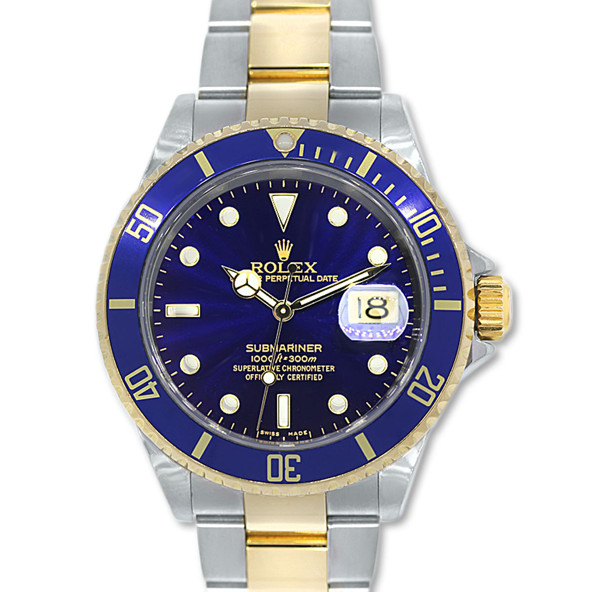 rolex submariner 16613 two tone blue dial mens watch boca. Black Bedroom Furniture Sets. Home Design Ideas