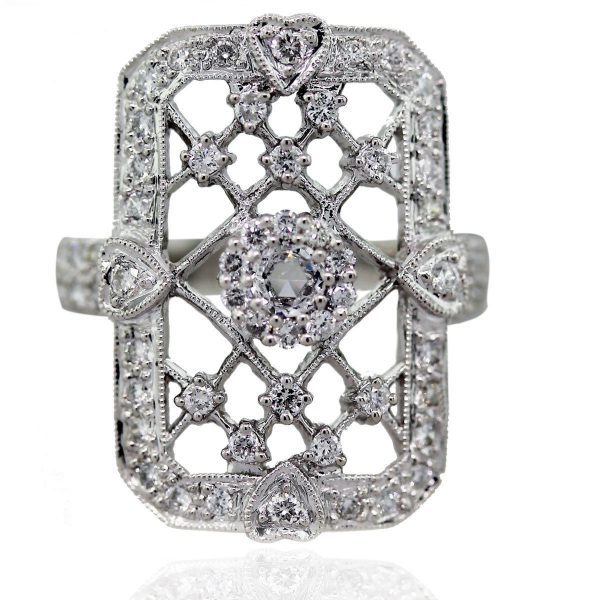 You are viewing this 18k White Gold Diamond Lattice Pattern Cocktail Ring!
