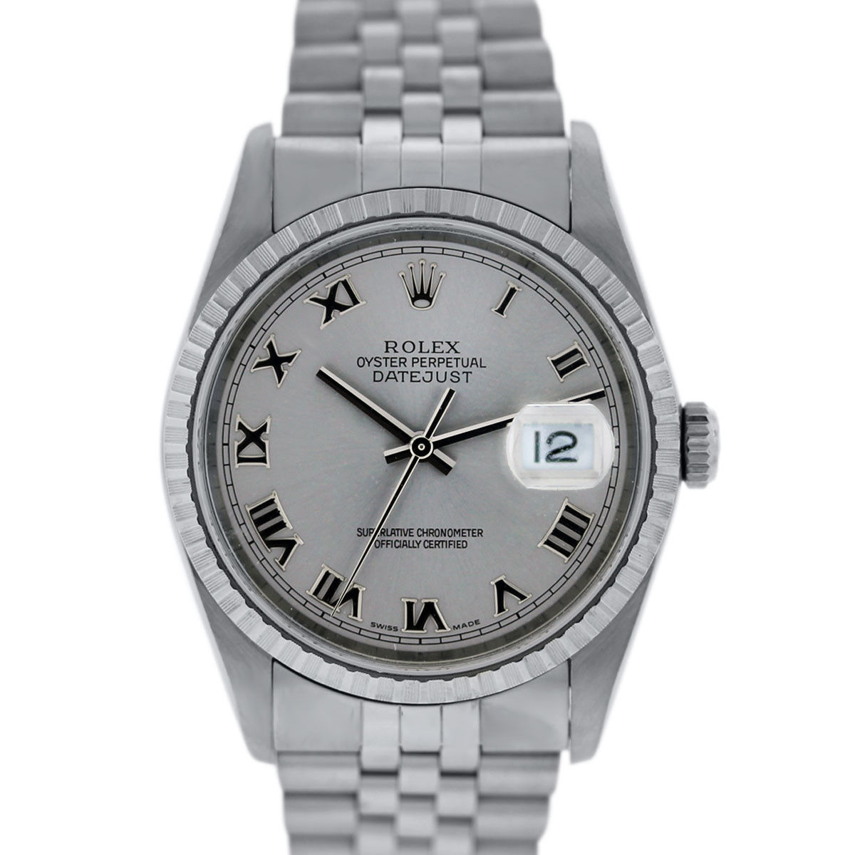 You are viewing this Rolex Datejust 16220 Roman Numeral Rhodium Dial Watch!