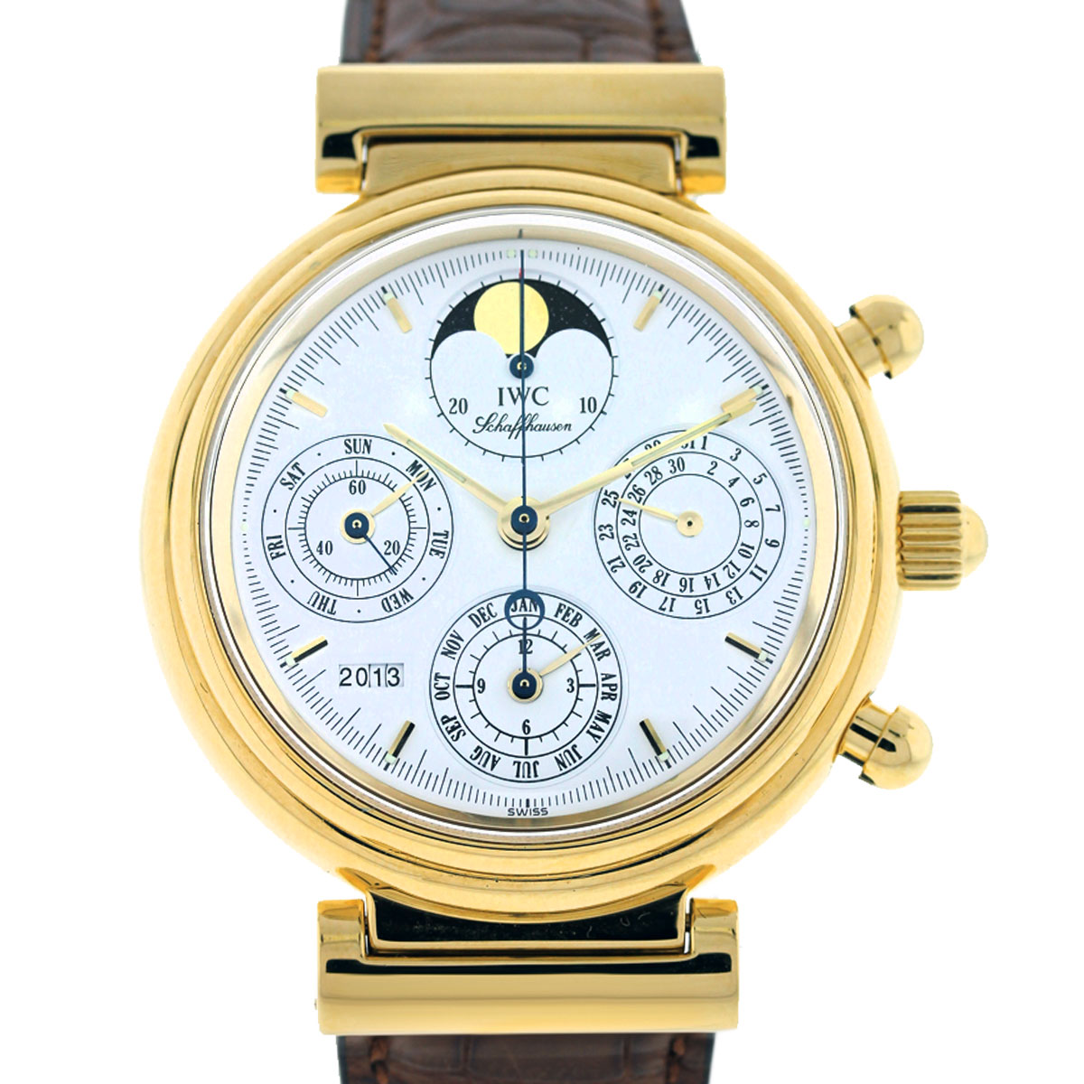 Iwc Da Vinci Perpetual Calendar Yellow Gold Mens Watch