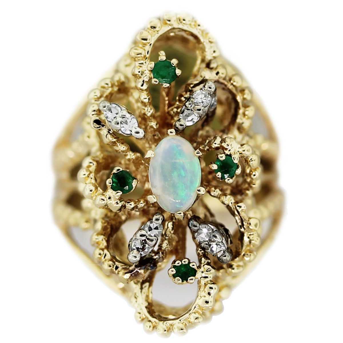 Vintage 14k Yellow Gold Jelly Opal, Single Cut Diamond, Emerald Ring