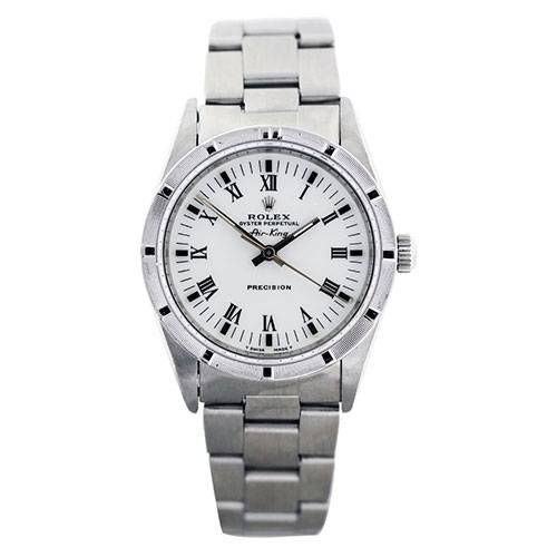 Rolex Air King 14000 White Roman Dial Automatic Mens Watch