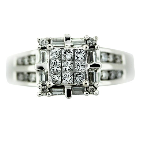 1.66ctw 14k White Gold Diamond Cathedral Ring