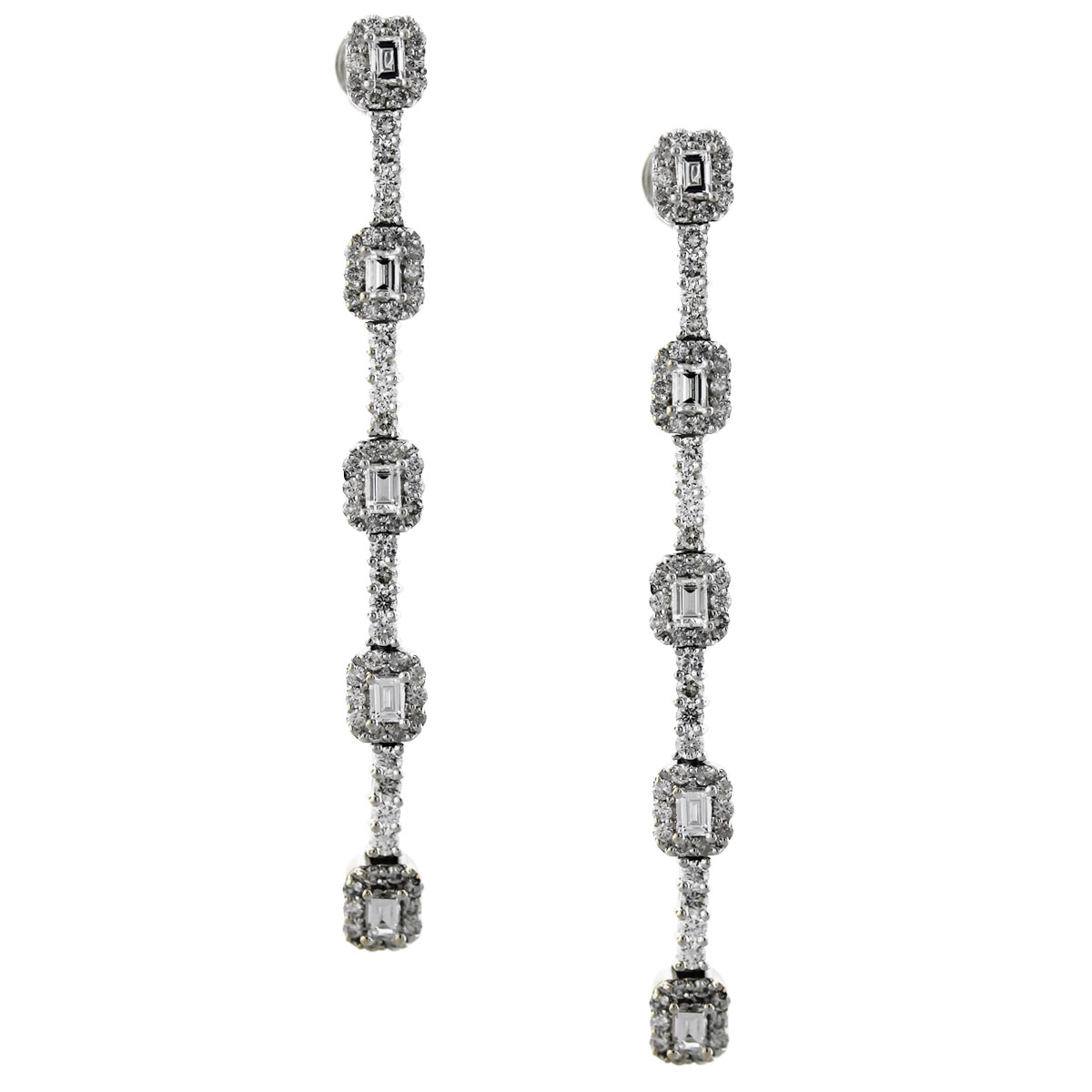 18k White Gold Emerald Cut Round Brilliant 2.65ctw Diamond Dangle Earrings
