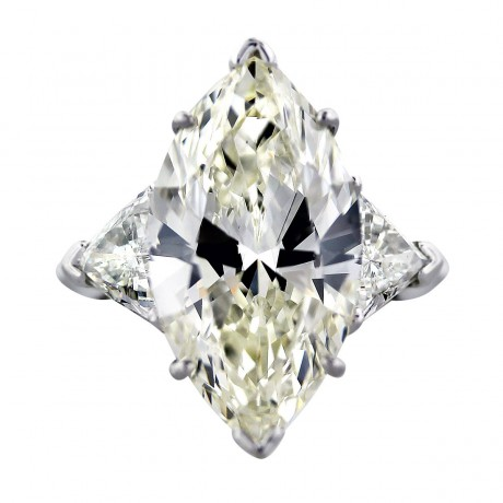 10 Carat Marquise Cut GIA Diamond Engagement Ring with Trillions