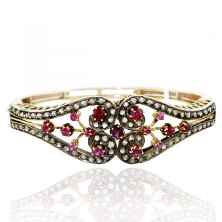 Vintage 14kt Gold Ruby and Rose Cut Diamond Bracelet