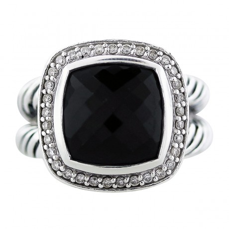 David Yurman Onyx and Diamond 11mm Albion Ring