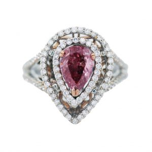 1 Carat Pink Diamond Ring Micropave Setting 18K Gold With GLS Cert