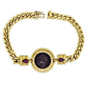 18k Gold Diamond, Ruby, Ancient Roman Crispus Coin Bracelet