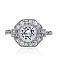 Platinum Art Deco Inspired Round Diamond Engagement Ring