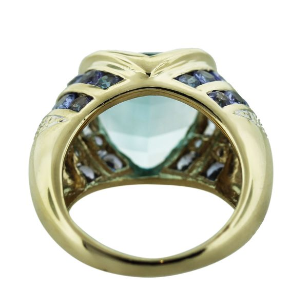 14kt Yellow Gold Blue Topaz & Amethyst Cocktail Ring South Florida
