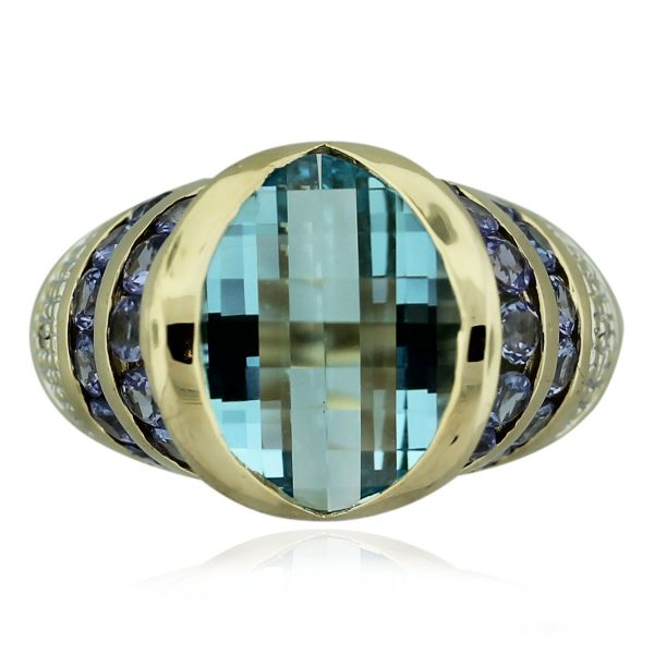14kt Yellow Gold Blue Topaz & Amethyst Cocktail Ring