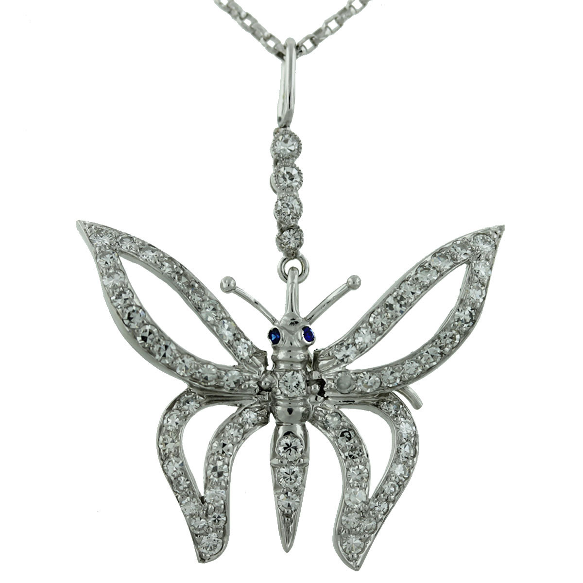 18Kt White Gold Diamond Butterfly Pendant w/ Sapphire Eyes