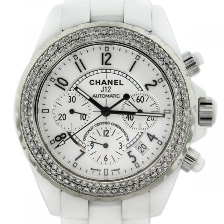 Chanel J12 Diamond Chronograph White Ceramic Watch