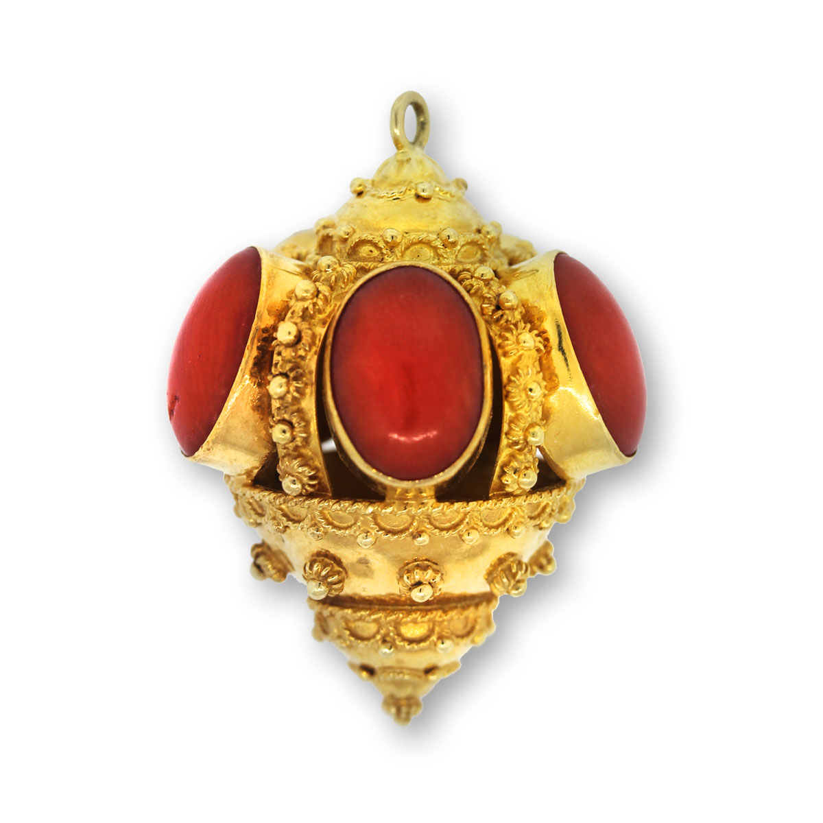 Coral and onyx necklace in 9kt yellow gold and silver with a flower vase shaped pendant composed of flowers in onyx and coral, there are some rubies, blue sapphires and emeralds that Gold Diamond Coral .