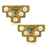 18k Yellow Gold Pearl, Aquamarine and Diamond Cufflinks