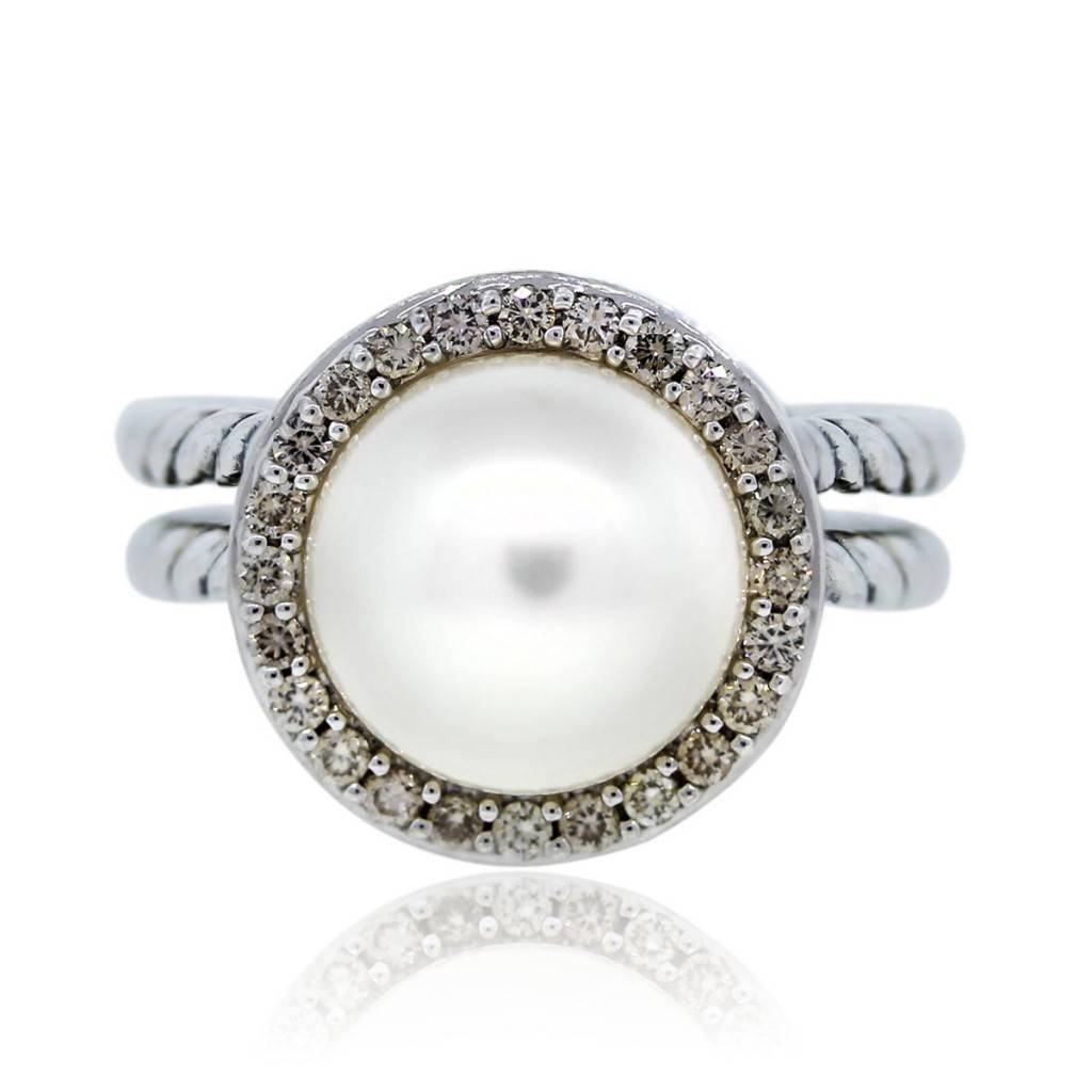 2a714f55fb159 David Yurman Sterling Silver Pearl and Diamond Cable Ring