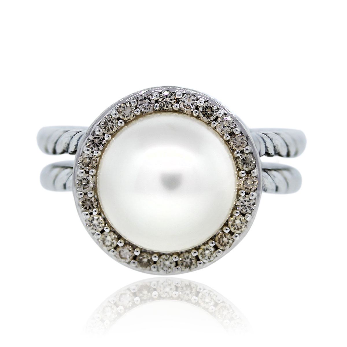 Estate Diamond and Pearl Cable Ring David Yurman