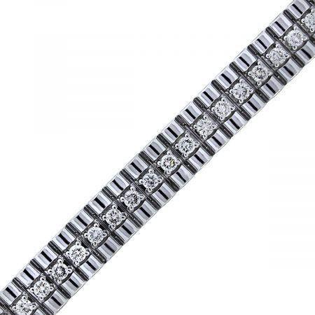 14k White Gold Diamond Thick Bracelet