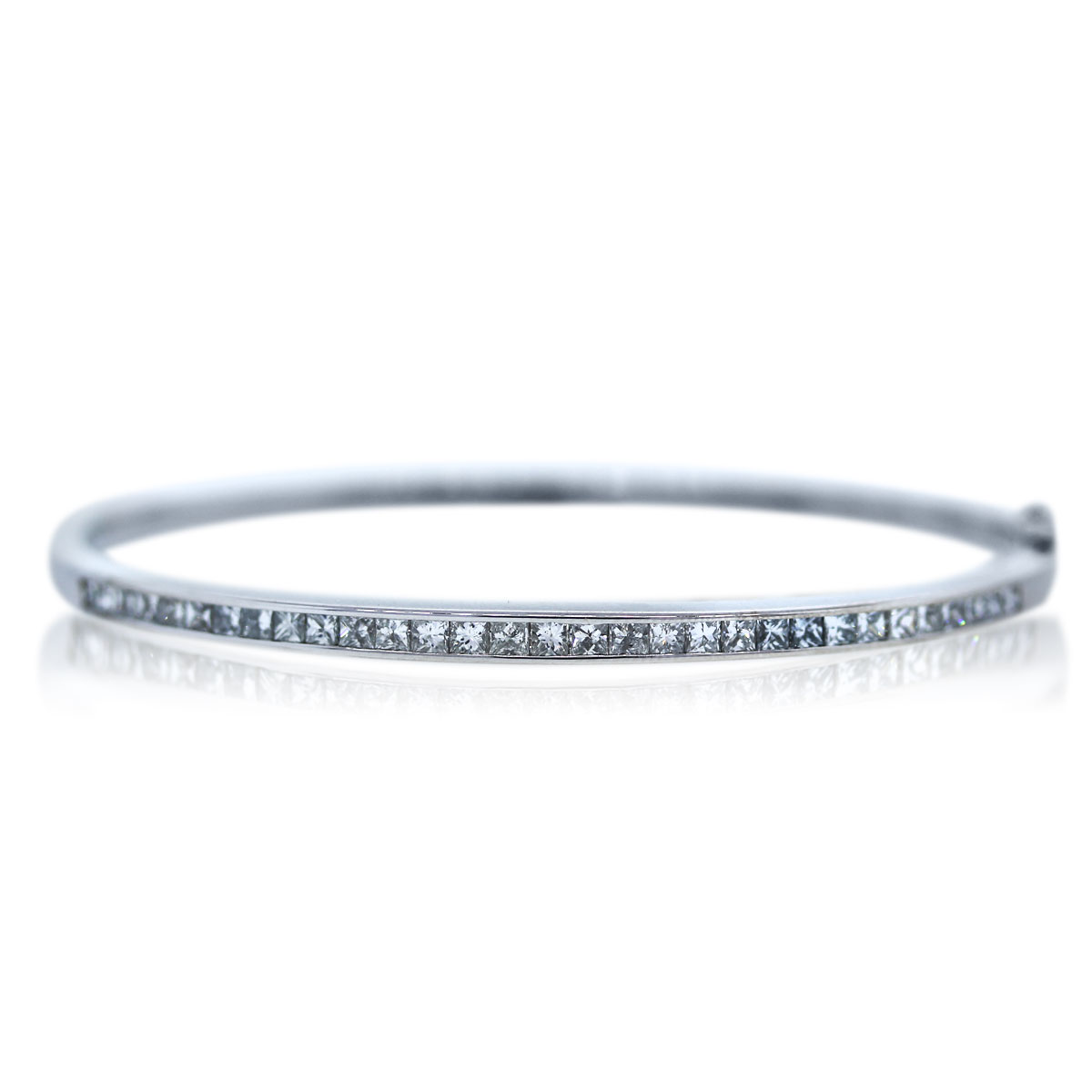White Gold Invisibly Set Diamond Bangle Bracelet