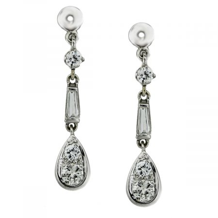 14kt White Gold Round & Baguette Diamond Dangle Jacket Earrings