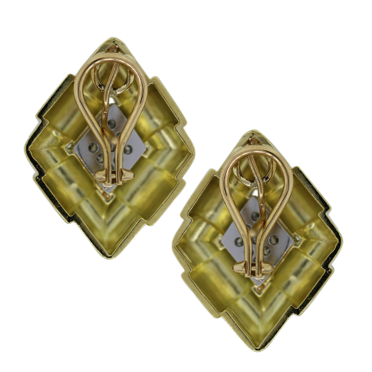 Estate platinum and gold diamond earrings
