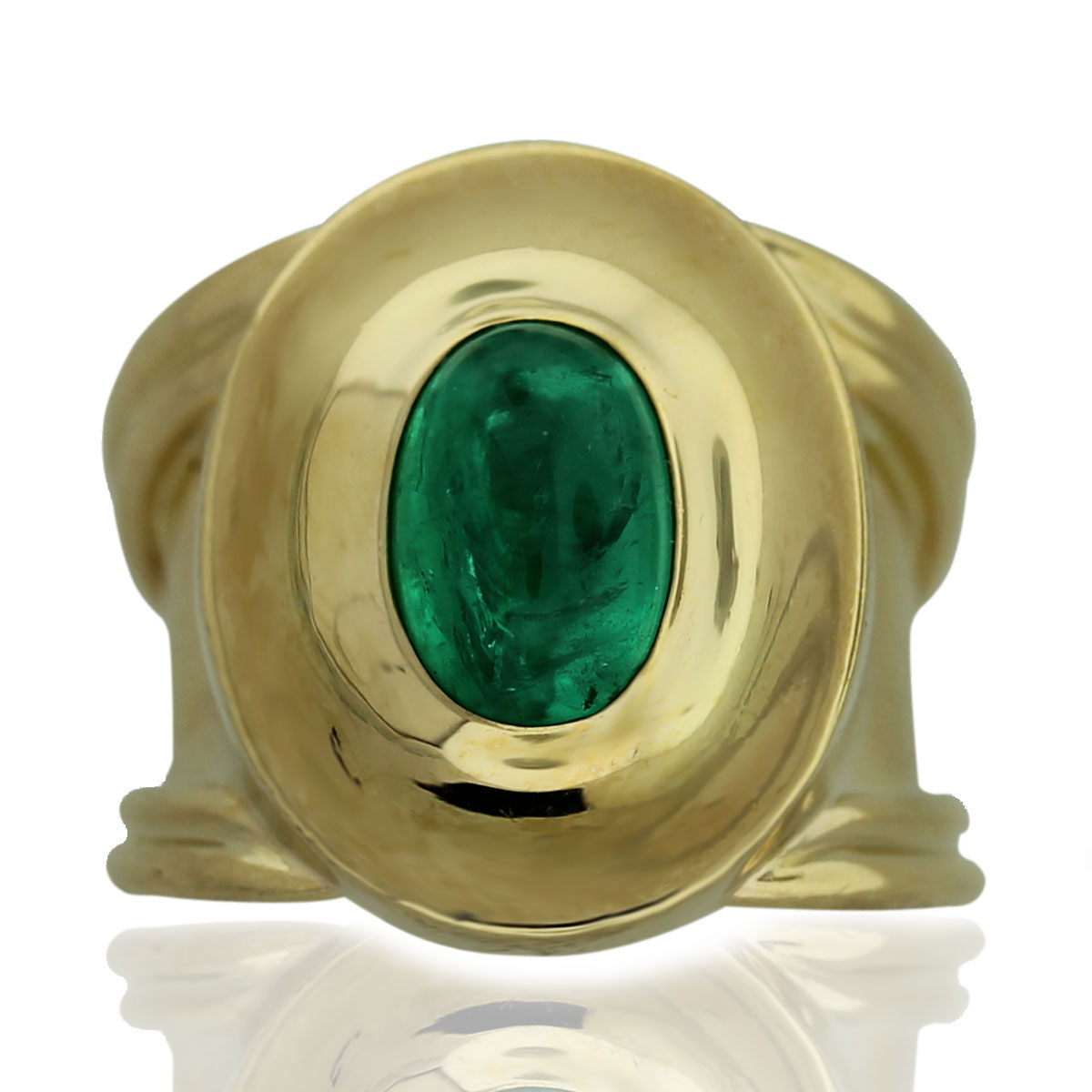 Vintage 18kt Yellow Gold Emerald Cabochon Ring