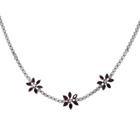 18K White Gold Rubellite Marquise Flower Necklace