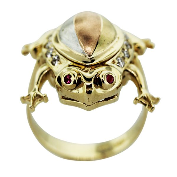 14k Yellow Gold Diamond and Ruby Frog Ring