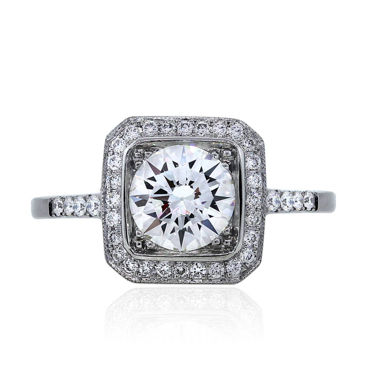 Pave Set Round Brilliant Diamond Ring